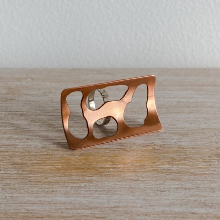 Copper cutout statement ring