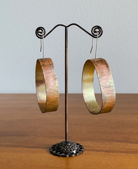 Betsy C Jewellery Copper Flame Painted Earrings