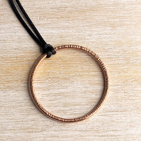 Handmade Copper Edgy Hammered Pendant