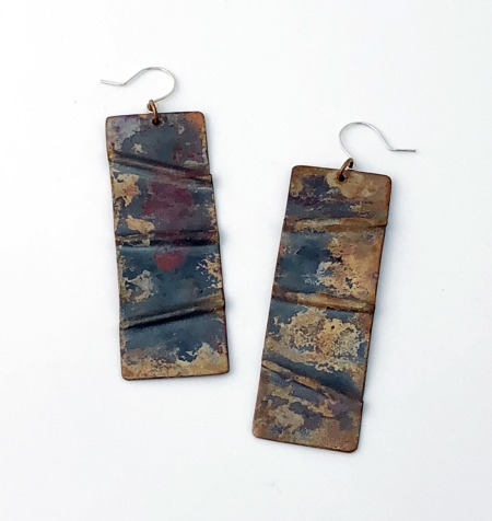 Handmade Copper Fold Form Earrings