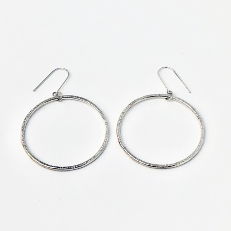 Handmade Silver Hammered Hoop Earrings