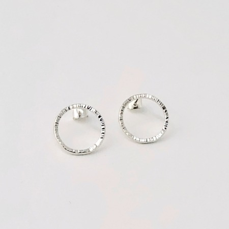 Handmade Silver Hammered Circle Stud Earrings