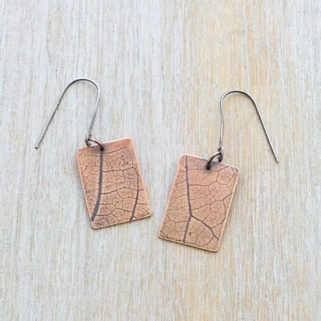 Handmade Copper Leaf Imprinted Earrings