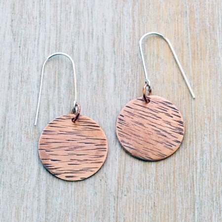 Handmade Hammered Copper Disk Earings