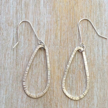 Handmade Silver Hammered Tear Drop Earrings
