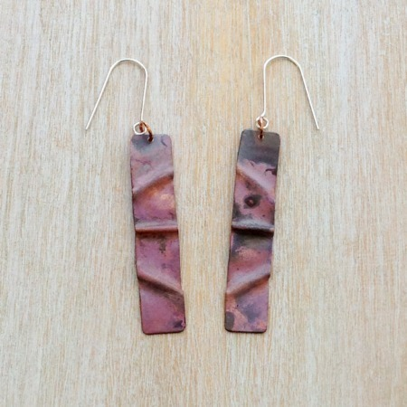 Handmade Copper Fold Formed Earrings