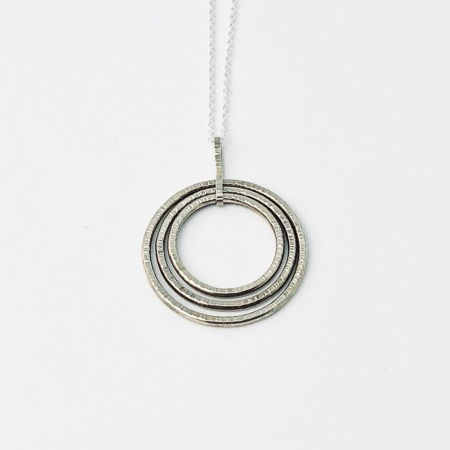 Handmade Hammered Silver 3 Circle Pendant